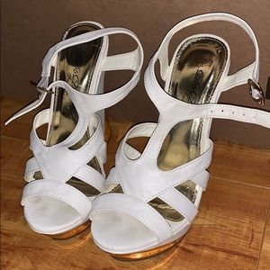 Shoes - White and gold wedges